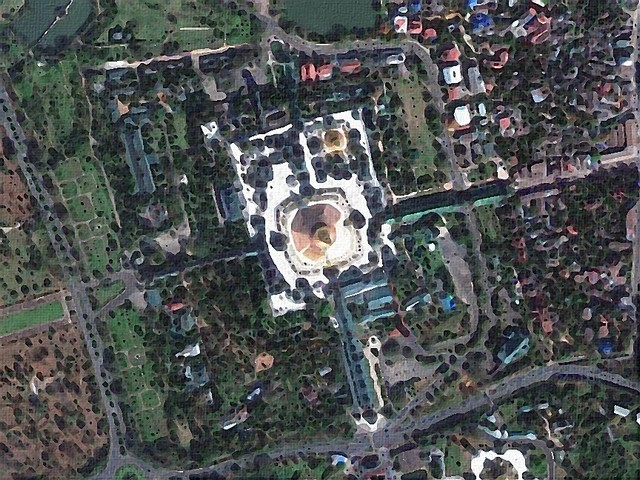 Overhead view of Shwedagon showing the approach roads