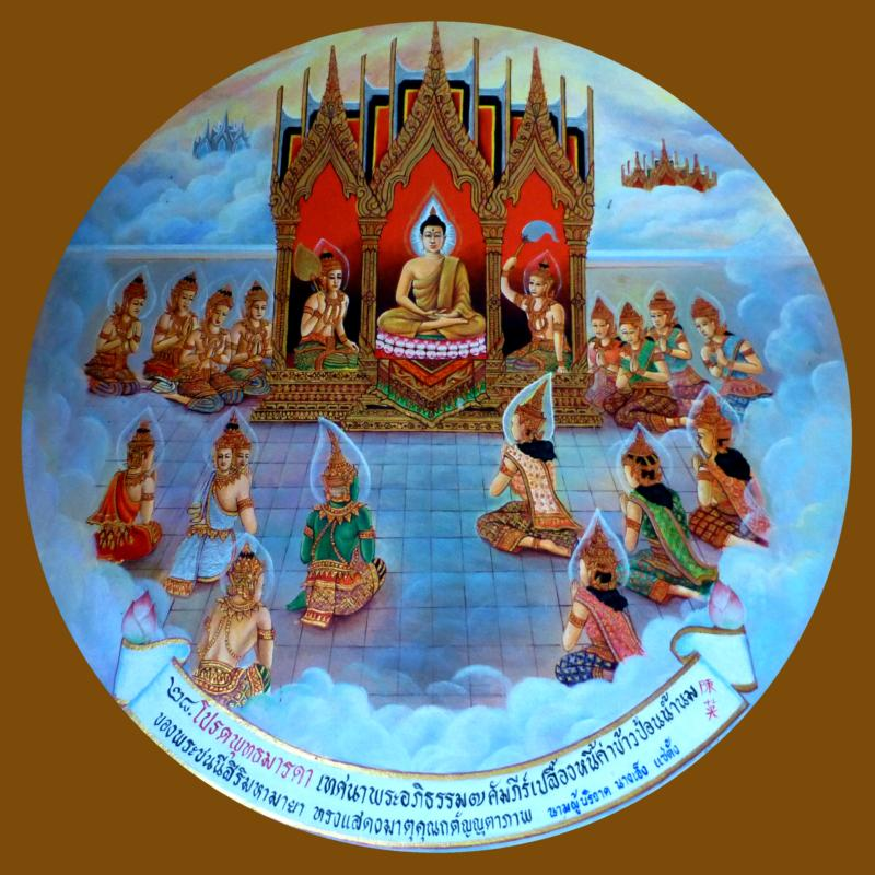 The Buddha preaches Abhidhamma to his Mother in Heaven
