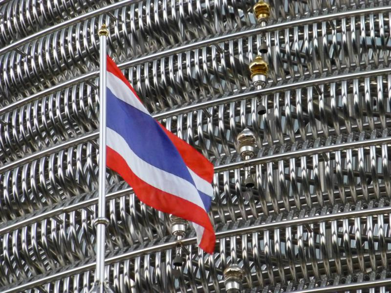 Chedi with Thailand Flag